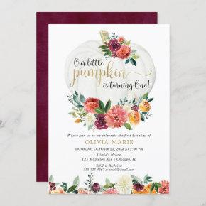 Our little pumpkin fall floral girl first birthday invitation