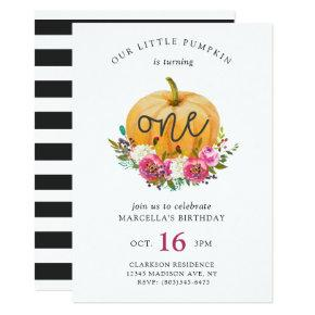 Our Little Pumpkin Fall Floral Invitation