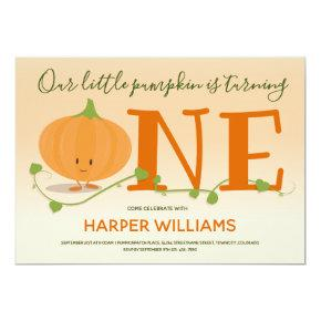 Our Little Pumpkin is Turning One First Birthday Invitation