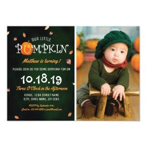 Our Little Pumpkin Photo 1st Birthday Party Invitations