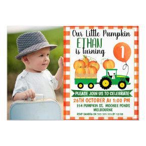 Our Little Pumpkin Tractor 1st Birthday Invitation