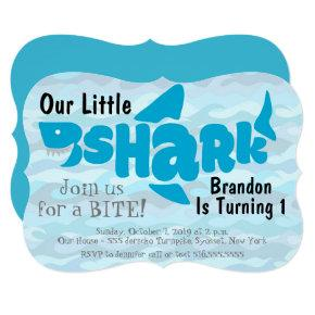 Our Little Shark First Birthday Invitation