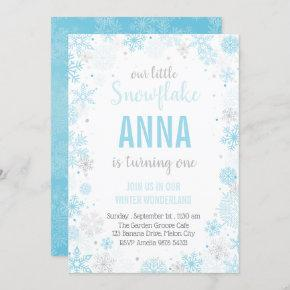 Our Little Snowflake | Girl First Birthday Invitation