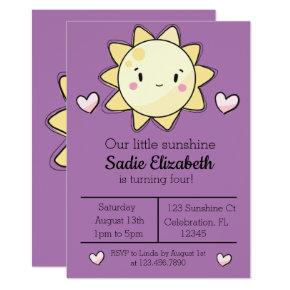 Our Little Sunshine Girl PurpleBirthday Invitation