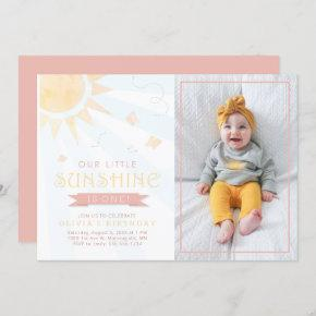 Our Little Sunshine Watercolor Butterfly Birthday Invitation
