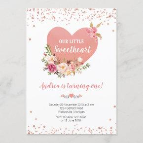 Our little sweetheart is turning one birthday invitation