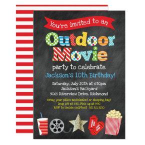 Outdoor Backyard Movie Birthday Party - Chalkboard Invitation