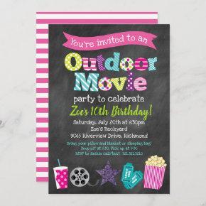 Outdoor Movie Birthday Party (Girls) - Chalkboard Invitation