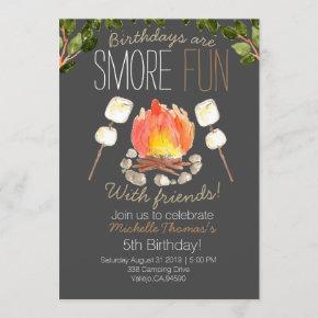 Outdoor smore camping birthday invitation