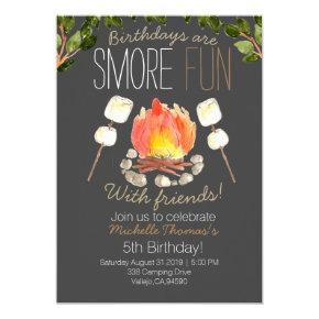 Outdoor smore camping birthday invitation