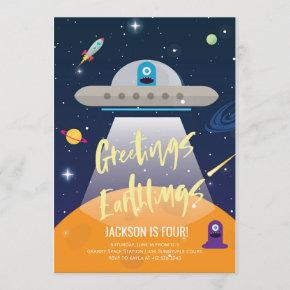 Outer Space Alien Birthday Invitation