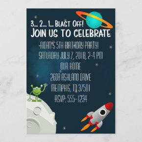 Outer Space Birthday Invite Spaceship Alien Planet