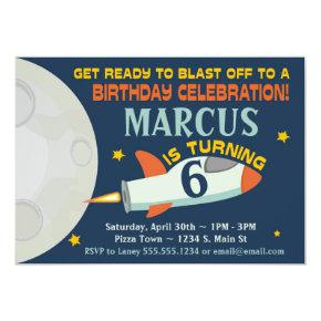 Outer Space Boys Birthday Invitations Spaceship