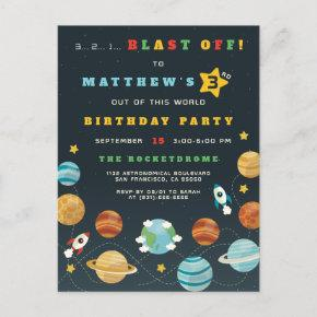 Blue Rocket Birthday Invitations Candied Clouds