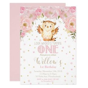 Owl 1st Birthday Invitation Blush Floral Girl
