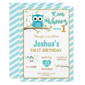 Owl 1st Birthday Invitation Boy Turquoise and Gold