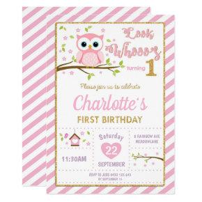 Owl 1st Birthday Invitations Girl Pink and Gold