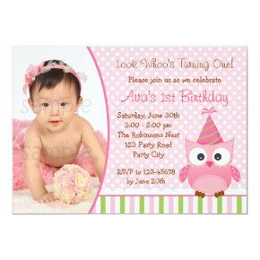 Owl 1st Birthday Invitations with Photo for Girls