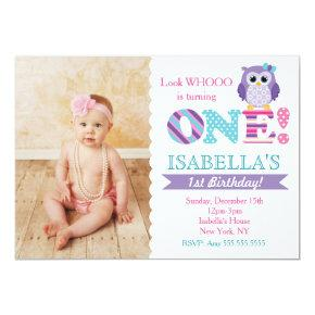 Owl 1st Birthday Invitations for Girl