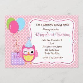 Owl 1st Birthday  for Girls (Balloons)