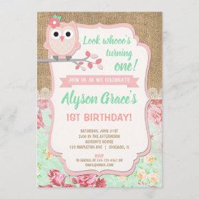 Owl 1st birthday , girl owl birthday invitation