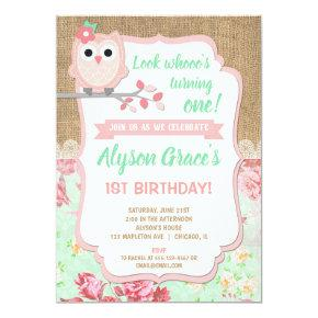 Owl 1st birthday invitations, girl owl birthday invitation