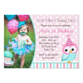 Owl 1st Birthday  with Photo Turquoise