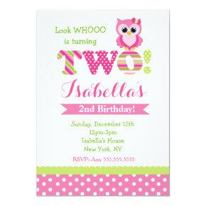 Owl 2nd Birthday Party Invitations