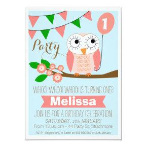 Owl And Balloon 1st Birthday Invitations