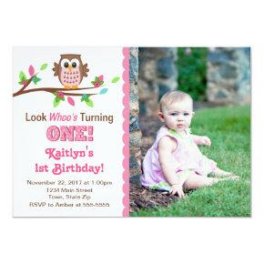 Owl Birthday Invitations Pink Girl 1st Invite
