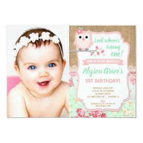 Owl birthday , girl 1st photo birthday invitation