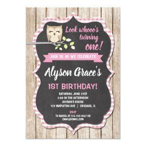 Owl birthday , girl woodland birthday invitation
