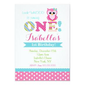 Owl Birthday Party Invitations for Girl