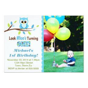 Owl Boy 1st Birthday Invitation Photo Invitations