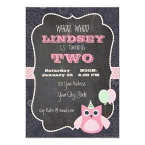 Owl Chalkboard Birthday Invitations