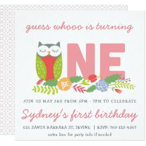Owl first birthday Invitations