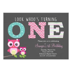 Owl First Birthday -Look whoo is turning one Card