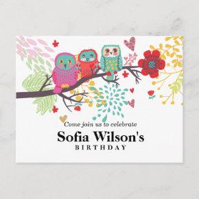 owl, flower birthday Post invitation