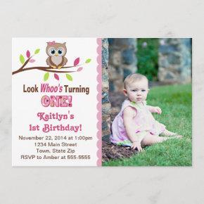 Owl Girl 1st Birthday Invitation Photo