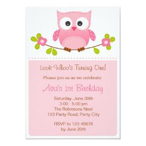 Owl Invitations - Girl 1st Birthday / Baby Shower