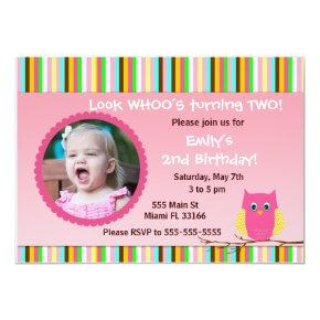 Owl Invitations Girl Birthday Party Stripes Photo