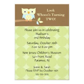 Owl Look Kids Birthday Invitations