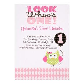 Owl Look Who's One Birthday Invitations