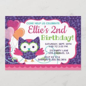 Owl Pal Girl's Birthday Party Invitation