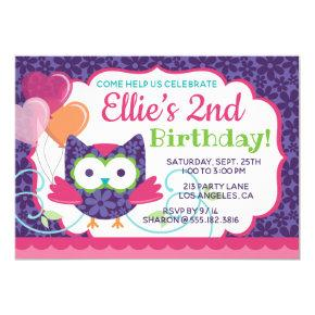 Owl Pal Girl's Birthday Party Invitations