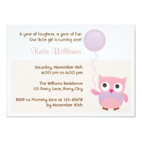 Owl (Pink) Birthday Party Invitations for Girls