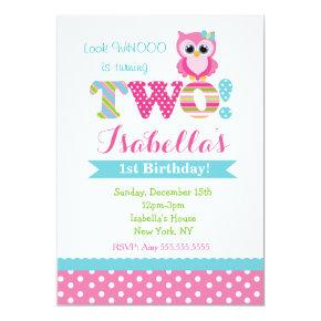 Owl Second Birthday Party Invitations