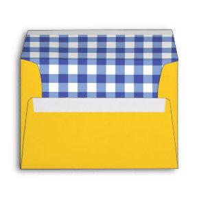 Oz Blue Gingham Birthday Party Invitation Envelope