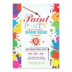 PAINT PARTY INVITE KIDS NEON FUN ART INK BIRTHDAY