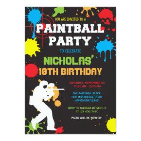 Paintball Birthday Invitations / Paintball Birthday